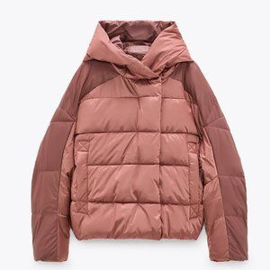 🔥MOVING SALE🔥New ZARA Pink FAUX LEATHER PUFFER